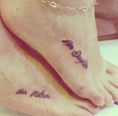 "These ""Her Daughter"" and ""Her Mother"" tattoos are simply the sweetest. Tiny but a big statement of love! http://thestir.cafemom.com/beauty_style/187679/21_mother_daughter_tattoos_that"