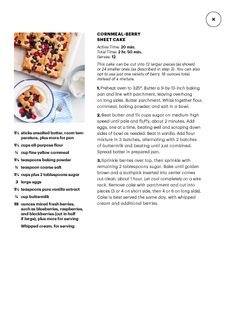 """I saw this in """"Sweets"""" in Martha Stewart Living July August 2014. Berry sheet cake"""