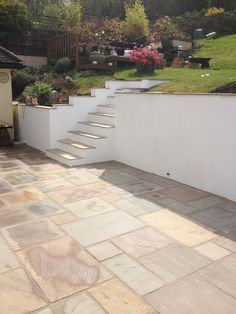 sleepers and rendered walls garden design ideas - Google Search