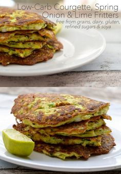 Low Carb and flourless Zucchini (Courgette), Spring Onion and Lime Fritters. These are dairy-free, gluten-free and grain-free too!