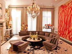 Apartment Furniture Living Room Cool Brown Squaring Sofa With Large Painting On The Wall And Big Chandelier Appealing Modern Apartment Living Room Furniture Layout Ideas Sofa Design, Interior Design, Interior Ideas, Apartment Design, Apartment Living, Apartment Interior, Room Interior, Gebogenes Sofa, Tan Sofa