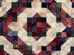 Green and Burgundy Split Nine Patch Quilt Photo 3