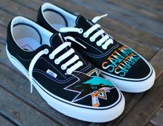 Hand Painted San Jose Sharks Black Canvas Era Vans by BStreetShoes, $149.00