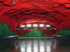 Stockholm Metro Subway Art Gallery Architecture Landscape Design