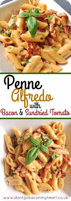 A delicious twist on the classic Alfredo. Penne Alfredo with Bacon and Sundried … A delicious twist on the classic Alfredo. Penne Alfredo with Bacon and Sundried Tomato will change your 'go to' quick dinner forever. Recipes with Bacon Penne Alfredo, Alfredo Chicken Pasta, Chicken Noodles, Pasta Noodles, Pasta Facil, Easy Pasta Dishes, Tomato Dishes, Cooking Recipes, Healthy Recipes