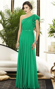 One Sleeve Zipper One Shoulder Floor-length Chiffon Formal Dresses b140557
