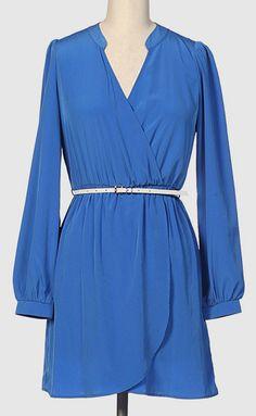 Royal Blue Belted Surplice Dress