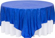 "Glitz Sequin Table Overlay Topper 90""x90"" Square - Royal Blue ● As low as $32.99 ● Available from www.cvlinens.com"