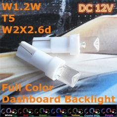 Stock Shipping New 12V CE LED Car Bulb T5(5mm Flood Lamp) W1.2W W2.3W W2X2.6d For Dashboard Signal Ashtray Light