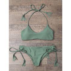 e32b6ce02be8 Tasselled Loop Tie Side Bikini Set (£11) ❤ liked on Polyvore featuring  swimwear