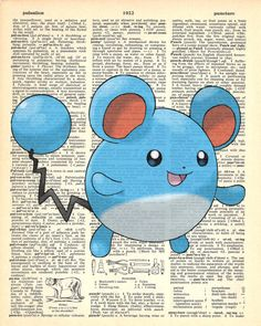 Marill Pokemon Dictionary Art Print by MollyMuffinsPrints on Etsy