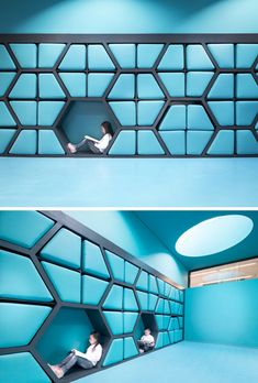 These cushion seats are designed to fit into the wall when not being used.
