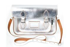 5061377be277 Metallic Silver Leather Satchel Crossover Bags