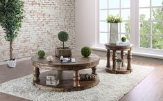 Rustic beauty and pastoral charms characterize this Mika Occasional Table Collection by Furniture of America. You can see it in the dents and weathering along the round table top and wooden turned legs. The natural oak finish showcases the grain and weath Round Coffee Table Rustic, Oak Coffee Table, Round Table Top, Coffee Table With Storage, Oak Table, Wooden Table Top, Wooden Tops, Living Room Table Sets, Floor Shelf