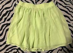 Women's Forever 21 Lime Yellow Green Spring Summer Skirt /skater Fashion Skirt  | eBay