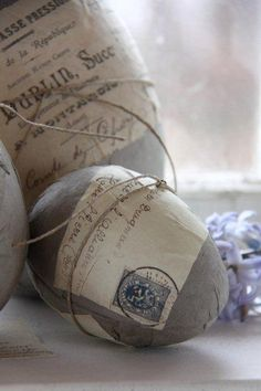 Easter Decorating Idea: Deco Pauge Scrapbooking Paper, Sheet Music, or Other print onto Plastic Eggs