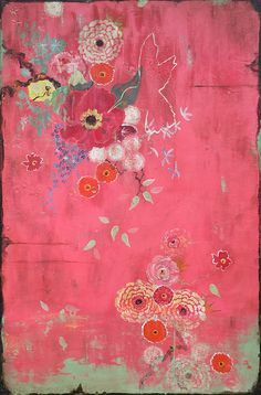 """Kathe Fraga paintings, www.kathefraga.com Inspired by the romance of vintage French wallpapers and Chinoiserie with a modern twist. """"Love at First Sight"""", 36x24 on frescoed panel."""