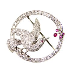 Diamond and Ruby Bird Pin | From a unique collection of vintage brooches at http://www.1stdibs.com/jewelry/brooches/brooches/