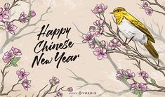 Chinese New Year illustration design featuring a bird standing on a flowery branch and the words HAPPY CHINESE NEW YEAR. Chinese New Year Calendar, Chinese New Year Poster, Chinese New Year Design, New Years Poster, Chinese New Year Flower, Chinese New Year Party, Happy Chinese New Year, New Year Illustration, Nature Illustration