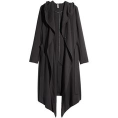H&M Crêpe coat (€56) ❤ liked on Polyvore featuring outerwear, coats, black, h&m, black coat, h&m coats, black double breasted coat, black hooded coat and hooded coats