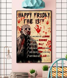 ason happy friday the 13th don't walk under any ladders Halloween canvas Halloween Wall Decor, Halloween Canvas, Halloween Gifts, Wall Canvas, Canvas Art, Happy Friday The 13th, Ginger Boy, Sleeping All Day, Face Down