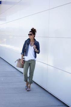 Denim, white tee and olive skinnies