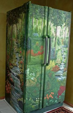 Would this babbling brook fridge make you smile in the morning?   Source: http://blog.diggerslist.com/2010/08/20/extreme-diy-project-refrigerators-combine-art-with-function/