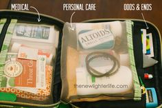 make up bag to organize purse essentials like breath mints, deodorant, etc. Keep in car, along with a change of clothes for everyone.