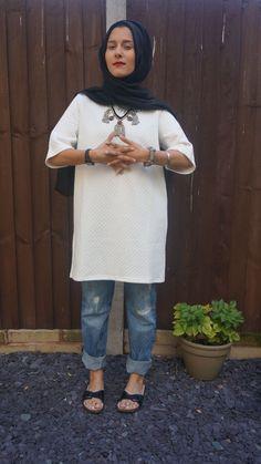 Dina Tokio | white long shirt + black scarf + boyfriend jeans + Birkenstocks...