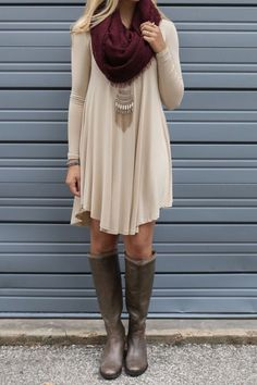 Nude dress and burgundy scarf clothes outfits, dress with boots, dress outf Mode Outfits, Casual Outfits, Fashion Outfits, Long Shirt Outfits, Scarf Outfits, Casual Dresses, Stylish Dresses, Comfy Dresses, Stylish Clothes