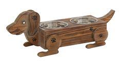 Dachshund Wood Metal Dog Feeder Bowls Weiner Puppy Animal Care Decor