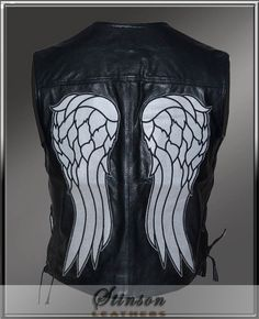 Daryl Dixon Walking Dead Angel Wings Leather Vest  http://www.stinsonleathers.com/product/daryl-dixon-walking-dead-angel-wings-leather-vest/