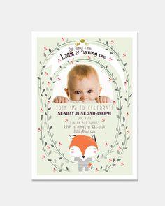 Baby's First Year Birthday Invitation Digital & Printable file - Adorable Baby Fox Illustration
