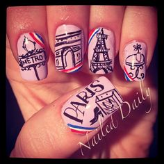 Cute Paris nails, but you would have to have giant flat fingernails to pull this off