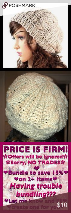 Beige Knit Beret Adorable knit beret, super soft and comfy, poly/cotton blend. Second pic is actual item (flash photo), color is closer to first pic. Keep your noggin nice and warm! ❄️❤️💕❣️ 🛑 PRICE IS FIRM!!! 🛑                                                                        💟 Bundle for 15% off 2+ items 💟 Accessories Hats