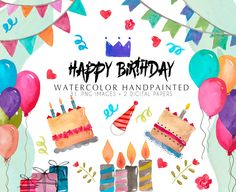 Watercolor Clip art happy birthday by la petite prune on Creative Market Happy Birthday Cards, Birthday Greetings, Collages, Birthday Clipart, Art Birthday, Kids Graphics, Paper Background, Digital Collage, Floral Watercolor