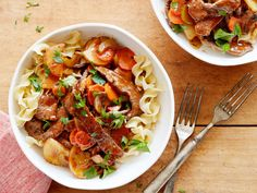 "Pot Roast ""Stir-Fry"": All the classic flavors cooked in a super fast one skillet method served over buttered noodles. Yum!"
