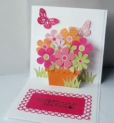 Bday card for Ms. Read card-feature-inside-pop-up karen Pop Up Flower Cards, Pop Up Box Cards, Cute Cards, Diy Cards, Pop Up Card Templates, Interactive Cards, Mothers Day Cards, Card Tutorials, Card Maker
