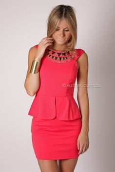 calypso peplum cocktail dress - red