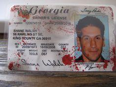 Walking Dead Driver License [ Shane Walsh ]  Blood spatter