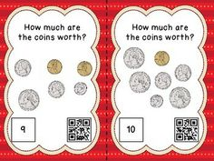 COUNTING COINS - 24 TASK CARDS WITH QR CODES FOR SELF-CHECKING - TeachersPayTeachers.com Teacher Observation, Counting Coins, Coin Worth, Numeracy, Qr Codes, Task Cards, Math Centers, Daily 3, Students