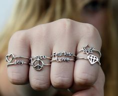 Sterling Silver Poetry Ring with poetic words and symbols