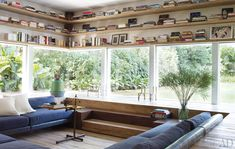great living room. book shelves. lowered seating. love.