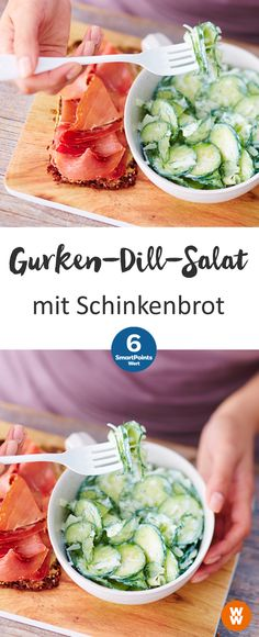 Gurken-Dill-Salat mit Schinkenbrot | 6 SmartPoints/Portion, Weight Watchers, schnell fertig in 10 min.