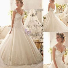New Custom Elegant White/Ivory Sweetheart Capo Sleeve Beading Tulle Lace Ball Gown Wedding Dresses 2014 US $229.99