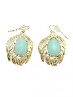 Jeweled Feather Earrings in Aquamarine - $10.00 : FashionCupcake, Designer Clothing, Accessories, and Gifts