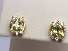 14K YELLOW GOLD PERIDOT EARRINGS WITH GENUINE DIAMOND ACCENTS