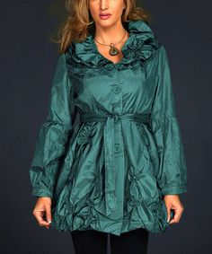 Look at this #zulilyfind! Dark Green Ruffle Bubble Trench Coat - Plus Too by ROSSI ROMA #zulilyfinds