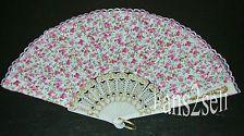 Spanish Flamenco Vintage Style Dance Lace Silk Folding Hand Held Fan-Pink Flower