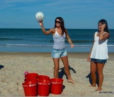 Life size beer pong for a beach party, barbecue or camping. Yes!